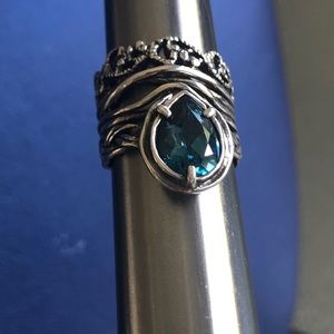 NWT-LIGHT TOPAZ Sterling SILVER RING SIZE 5 unique